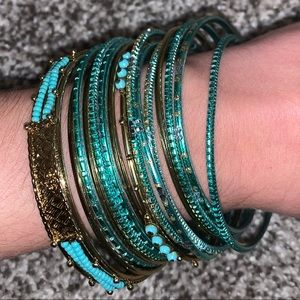 Turquoise and gold bangle bundle